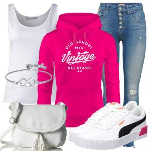 Frühlings-Frauenoutfit mit pinkem Kapuzenpullover