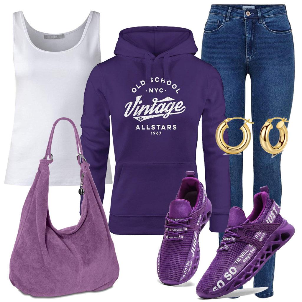Lila Damenoutfit mit Hoodie, Tasche und Schuhen