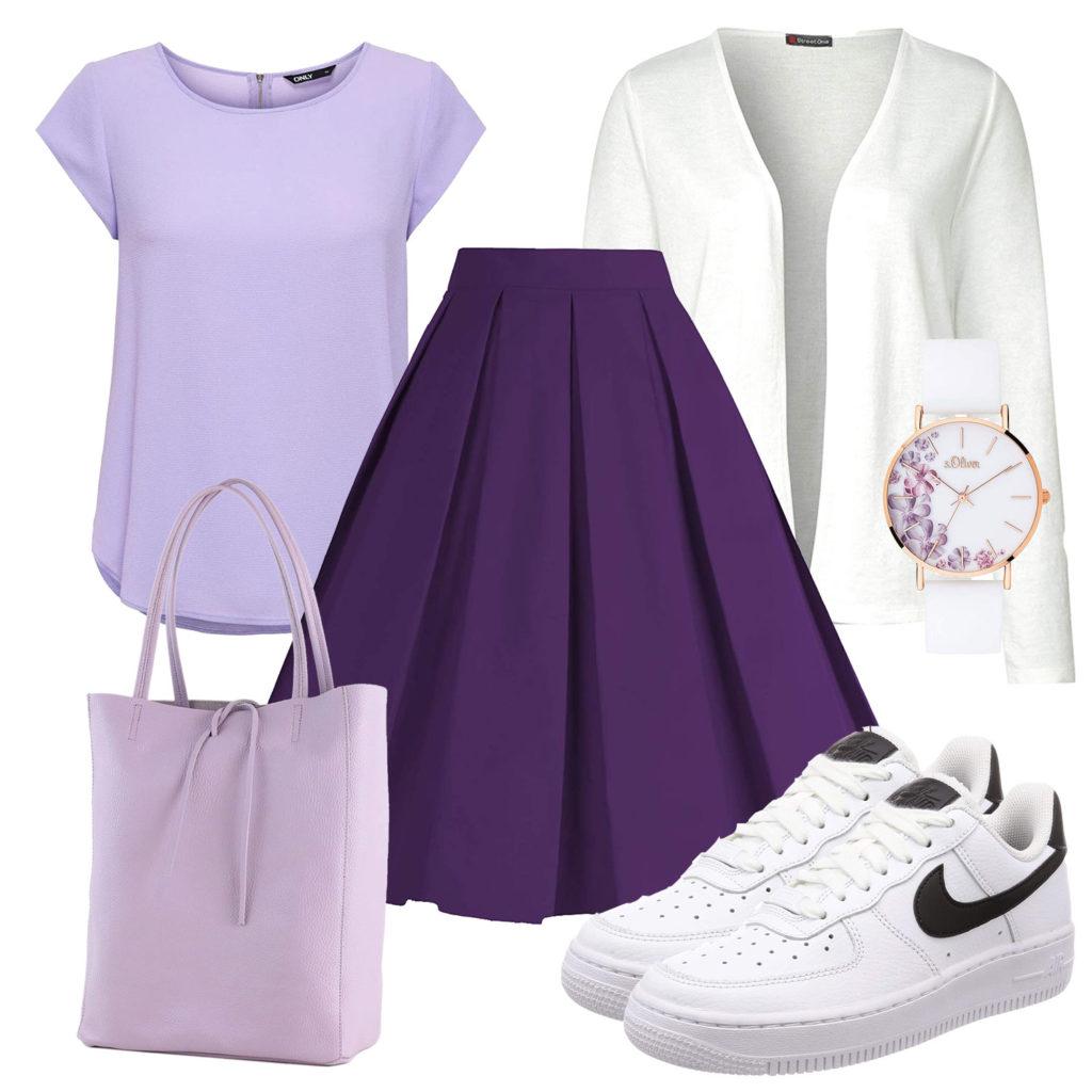 Lila-Weißes Frauenoutfit mit Rock, Shirt und Tasche