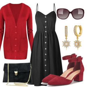 Schwarz-Rotes Frauenoutfit mit Clutch und Ohrringen