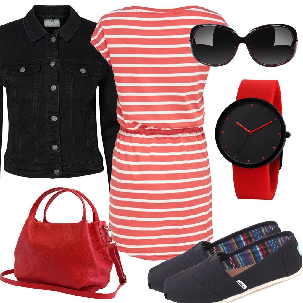 Schwarz-Rotes Frauenoutfit mit Kleid und Uhr