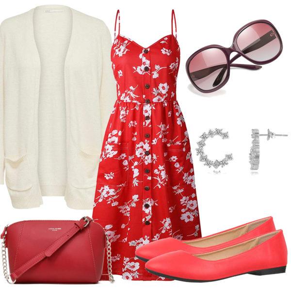 Frühlings-Damenoutfit mit rotem Kleid, Tasche und Ohrringen