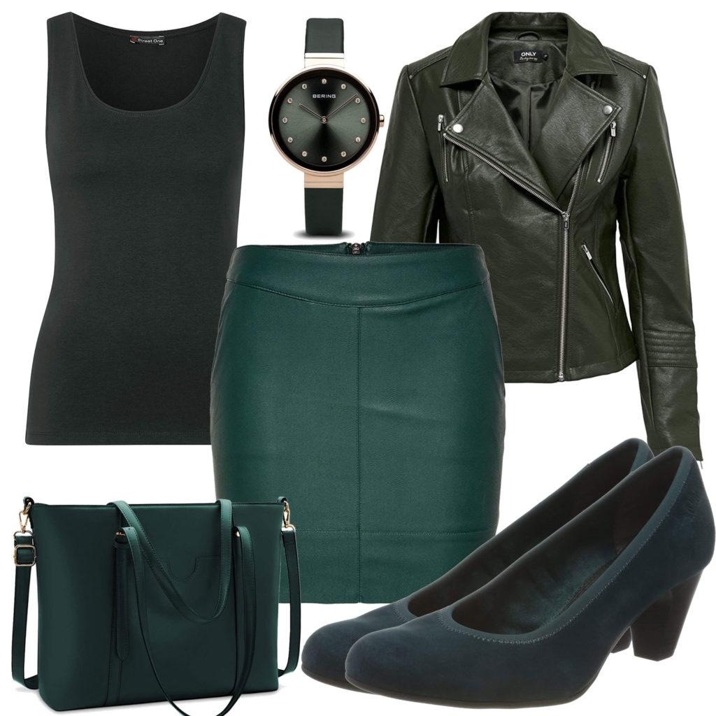 Schwarz-Grünes Frauenoutfit mit Kleid und Lederjacke