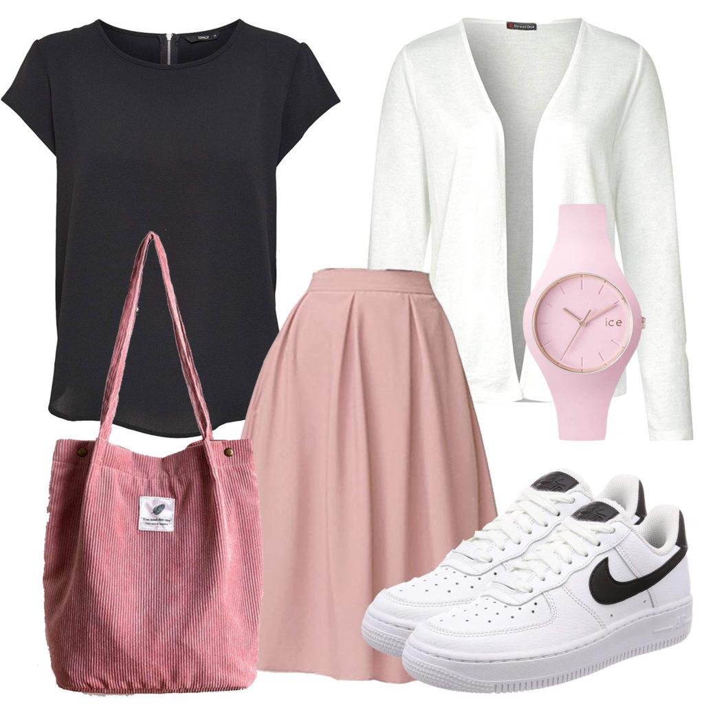 Rosa-Weißes Frauenoutfit mit schwarzem T-Shirt