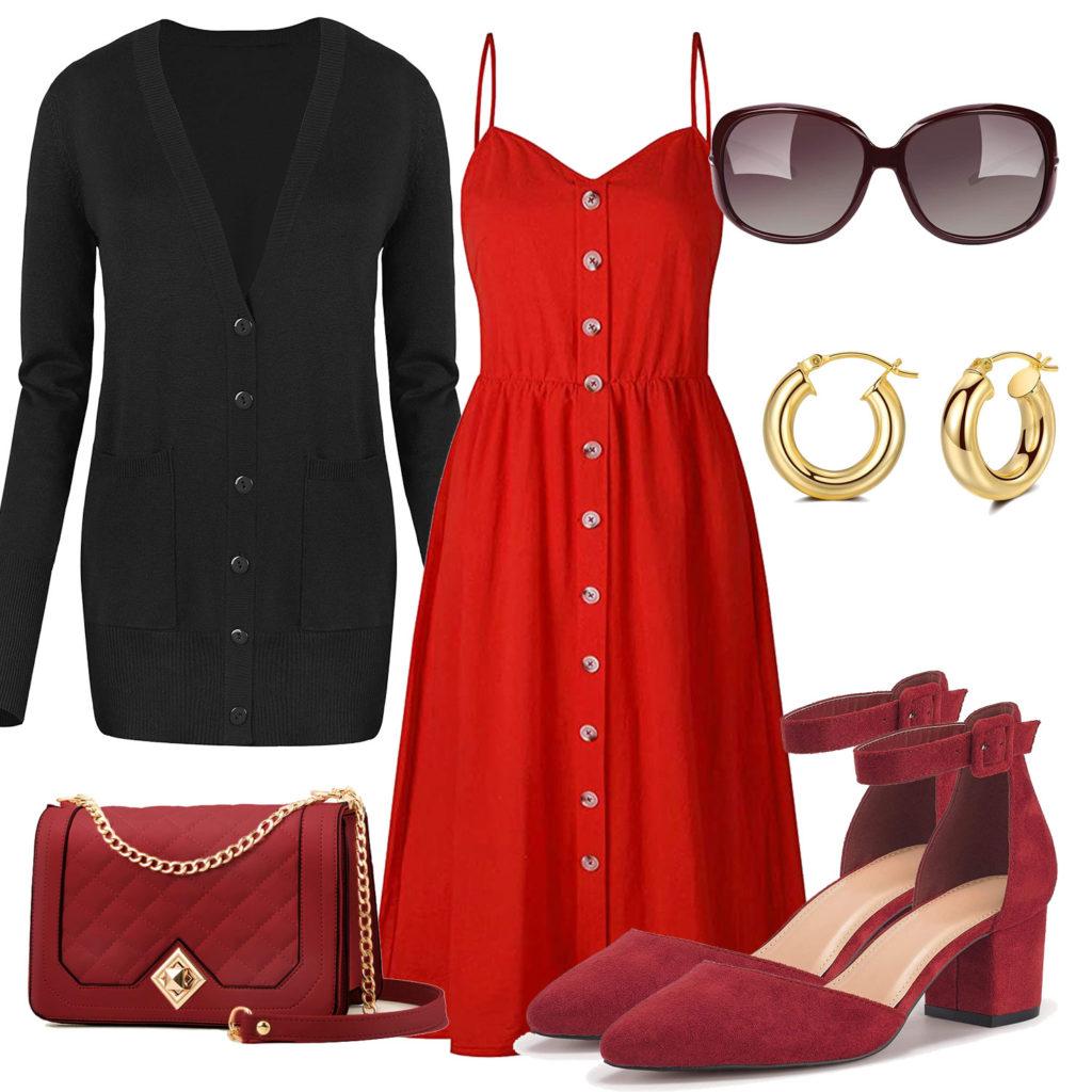 Rotes Frühlings-Frauenoutfit mit schwarzer Strickjacke