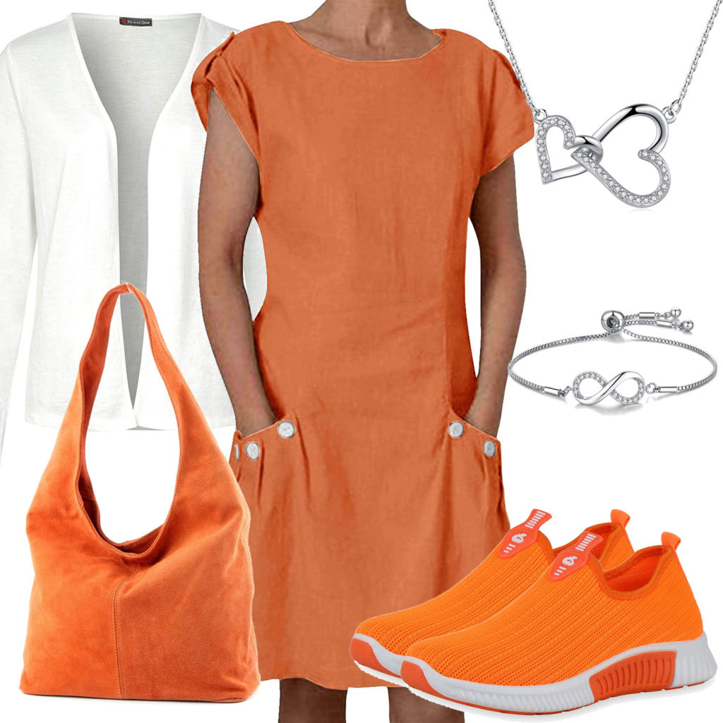 Oranges Damenoutfit mit Kleid und Sneakern
