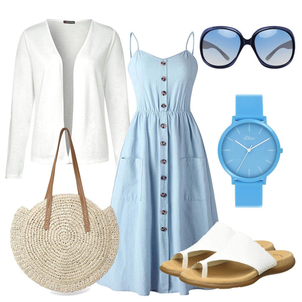Sommer-Damenoutfit mit hellblauem Kleid und Uhr