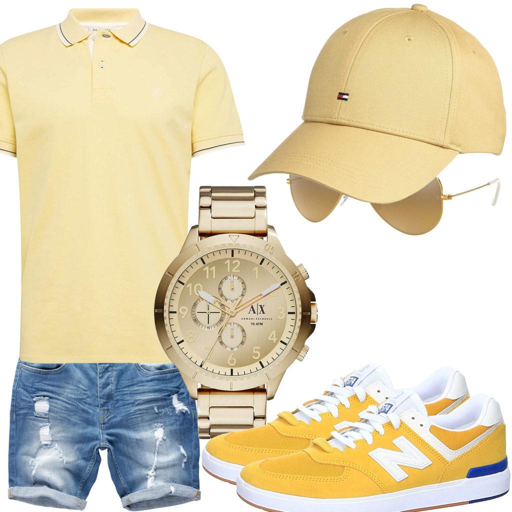 Gelbes Herrenoutfit mit Poloshirt, Cap und Uhr
