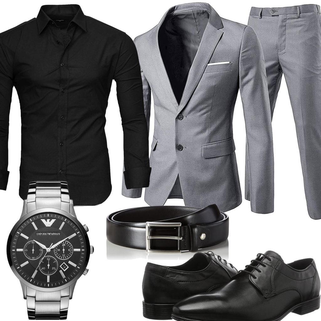 Business-Style mit schwarzem Hemd und Anzug