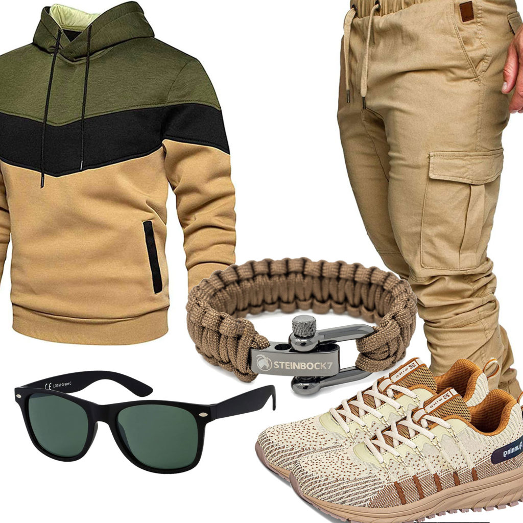 Beige-Grünes Herrenoutfit mit Hoodie, Hose und Sneakern