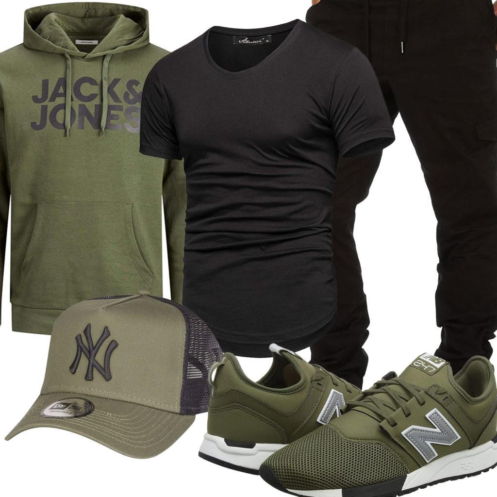 Grün-Schwarzes Herrenoutfit mit Hoodie und Cap