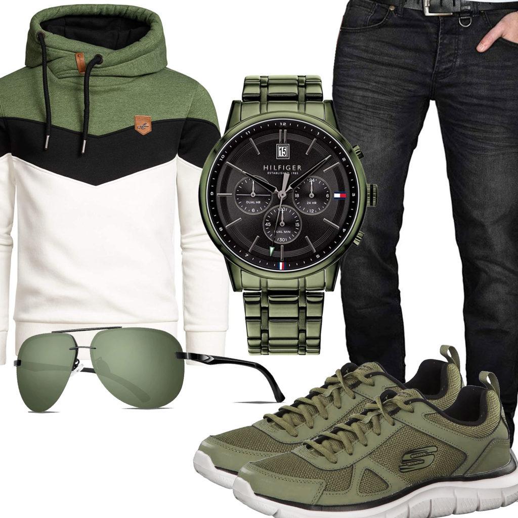 Grün-Schwarzes Herrenoutfit mit Uhr, Sneakern und Jeans