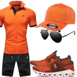Orange-Schwarzes Herrenoutfit mit Cap, Sneakern und Brille