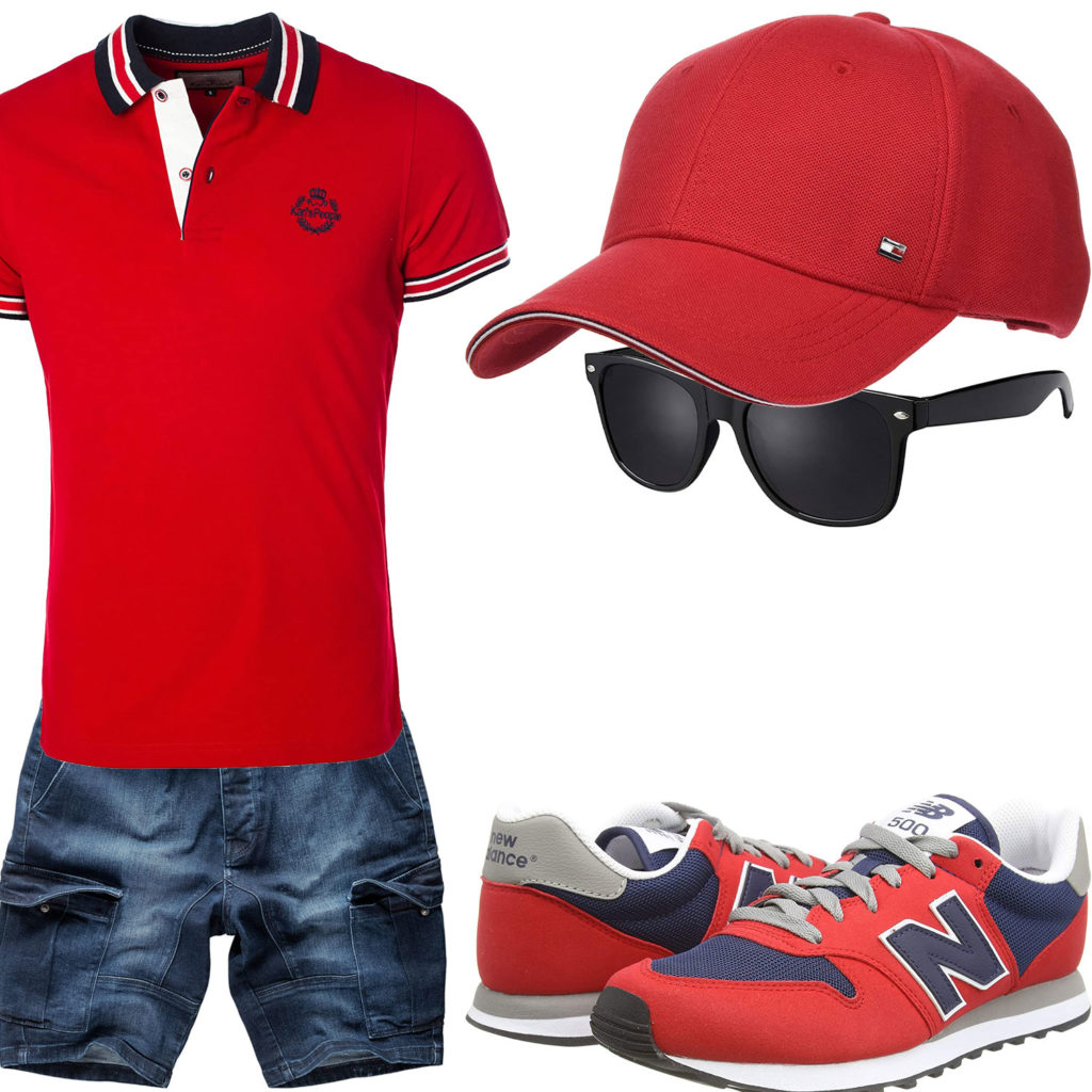 Rotes Herrenoutfit mit Poloshirt, Sneaker und Cap