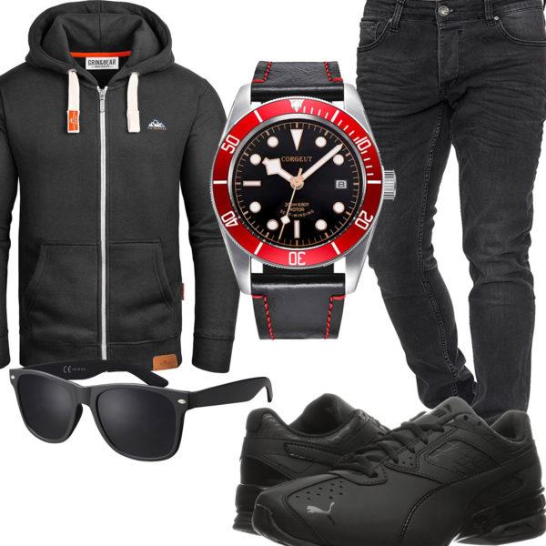 Schwarz-Rotes Herrenoutfit mit Uhr, Hoodie und Jeans
