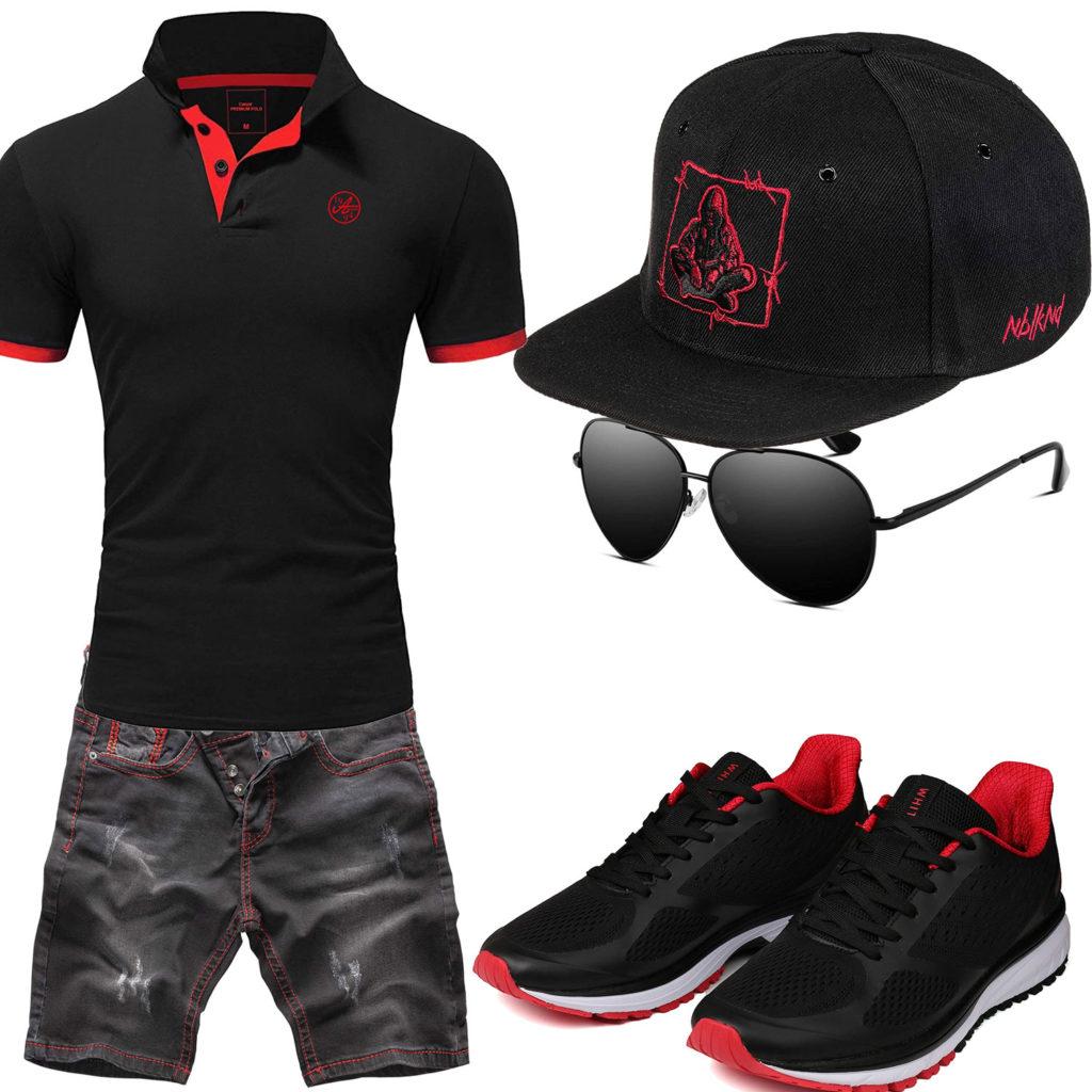 Schwarz-Roter Style mit Poloshirt, Shorts und Cap