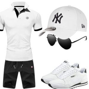 Schwarz-Weißes Herrenoutfit mit Cap und Sonnenbrille