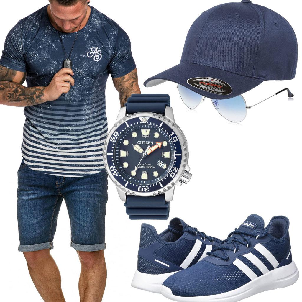 Blaues Herrenoutfit mit Cap, Shirt und Armbanduhr