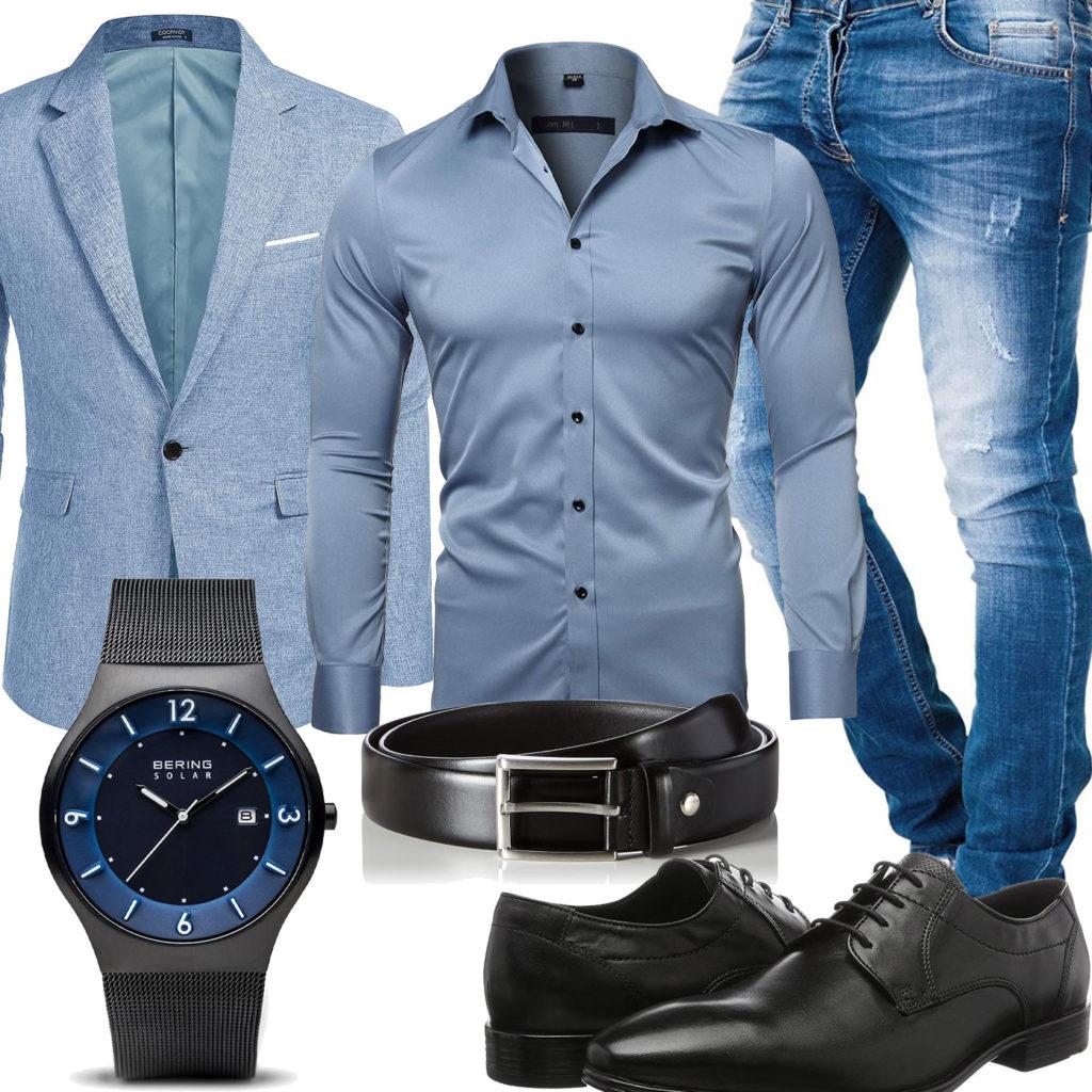 Herren-Style mit hellblauem Jeans, Sakko und Hemd
