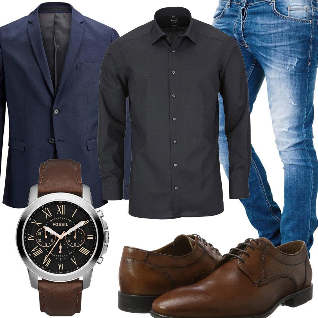Business-Style mit Hemd, Sakko und Uhr