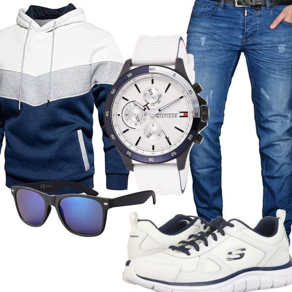 Blau-Weißes Herrenoutfit mit Hoodie und Jeans