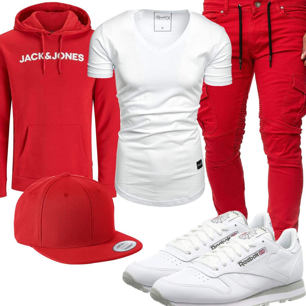 Weiß-Roter Style mit Hoodie und Cap