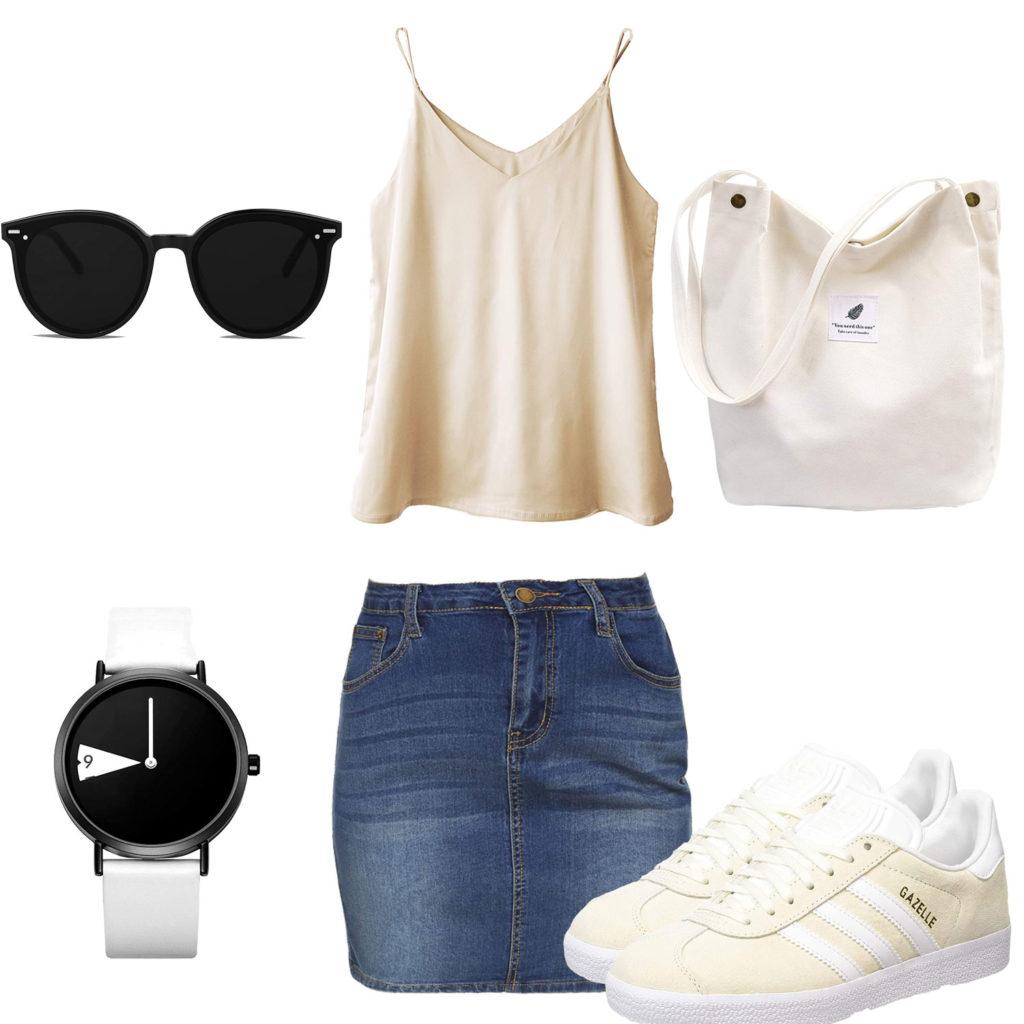 Sommer-Herrenoutfit mit leichtem Top und Jeansrock