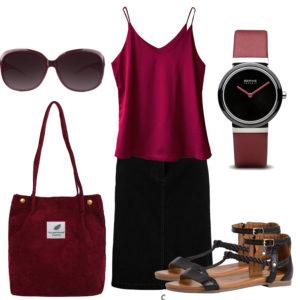 Sommer-Damenoutfit mit Top, Jeansrock und Sandalen