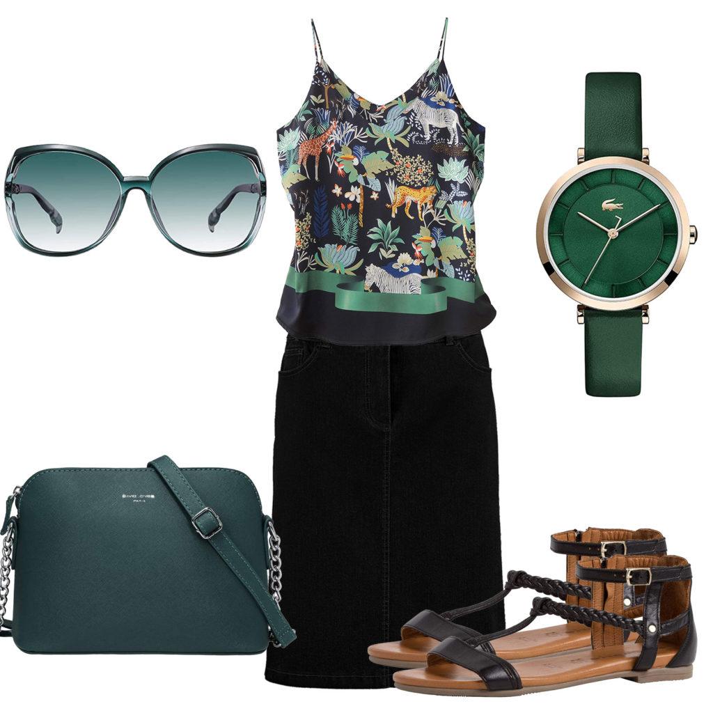 Grün-Schwarzes Frauenoutfit mit Top und Rock