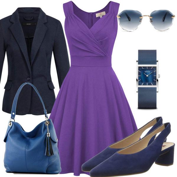 Elegantes Damenoutfit mit lila Kleid und Blazer