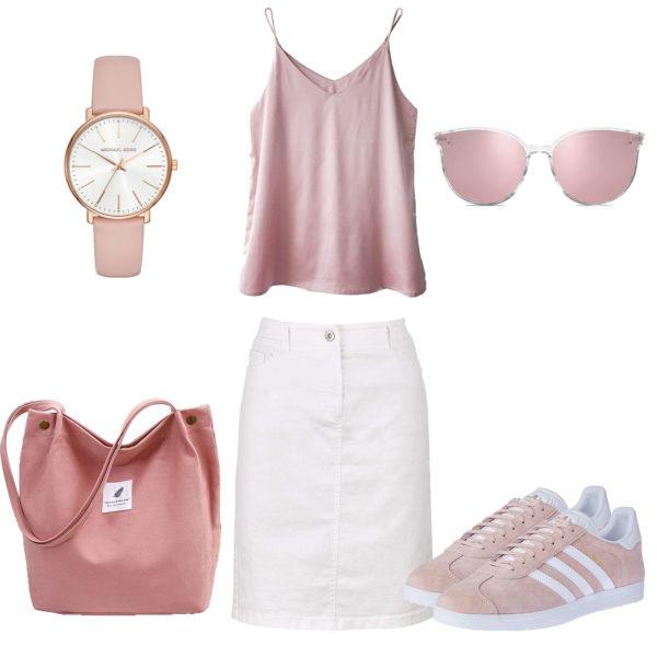 Weiß-Rosa Damenoutfit mit Rock und Top