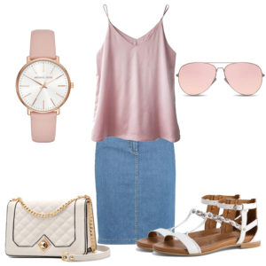 Rosa Damenoutfit mit Bluse, Brille und Uhr
