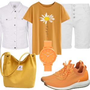Gelb-Weißes Frauenoutfit mit Jeansjacke
