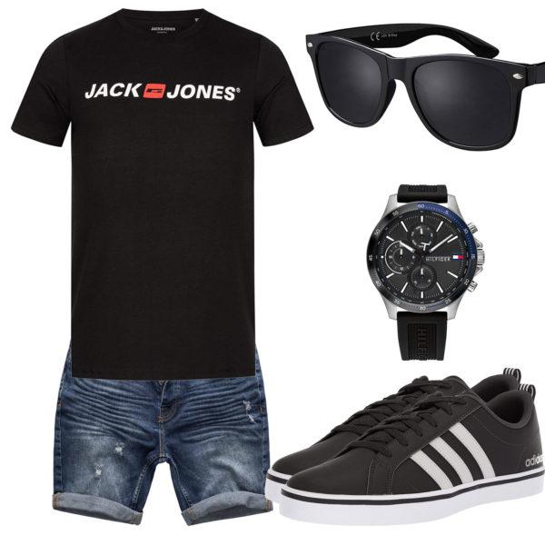 Schwarzes Sommer-Herrenoutfit mit Sonnenbrille und Uhr