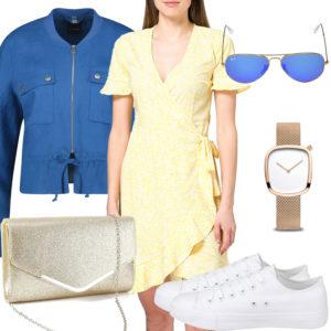 Sommer-Style mit gelbem Kleid, Clutch und Uhr