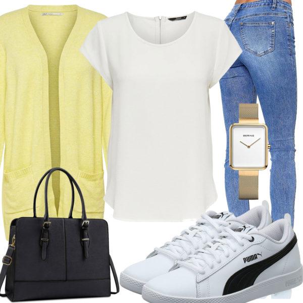Sommer-Style mit Shirt, Strickjacke und Jeans