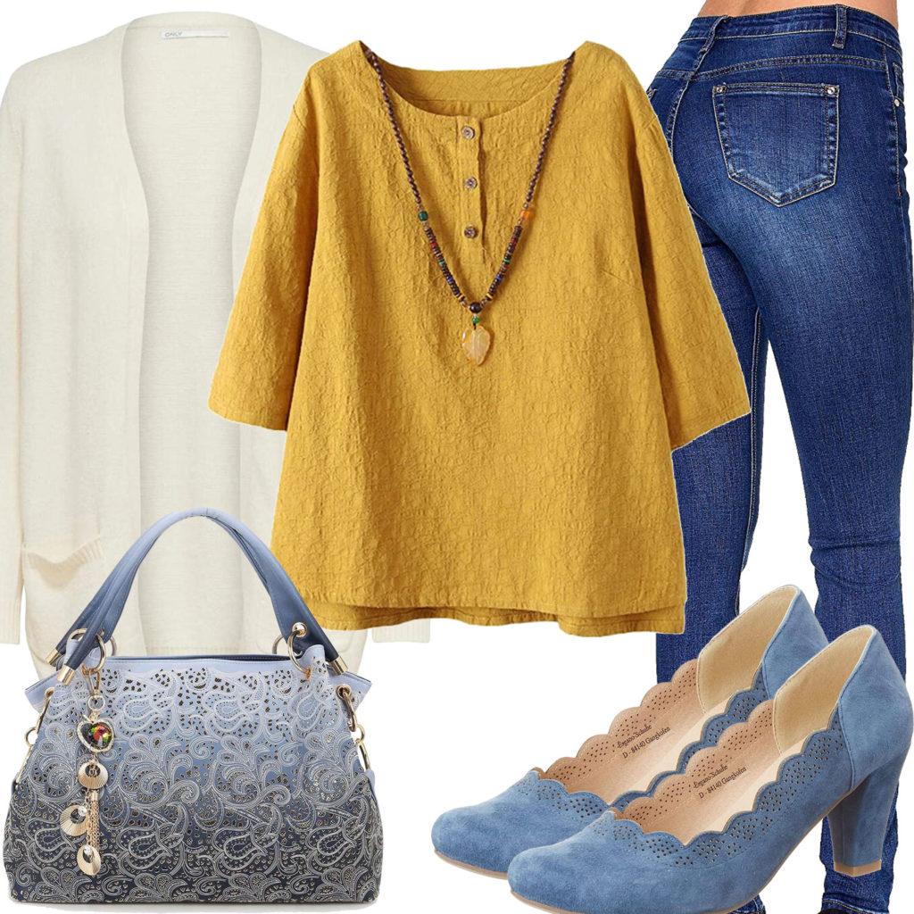 Sommer-Style mit blauer Jeans, Tasche und Pumps