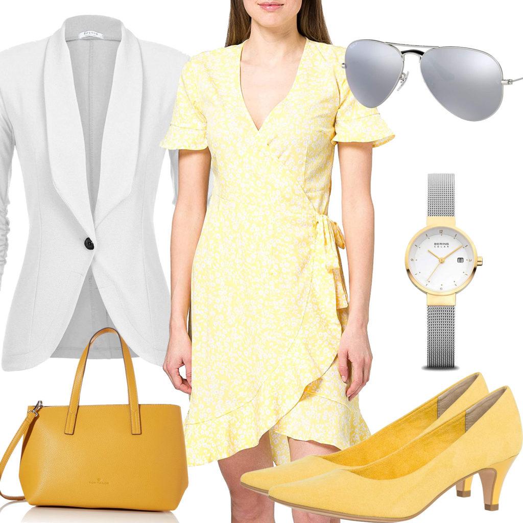 Gelbes Frauenoutfit mit Kleid, Pumps und Tasche