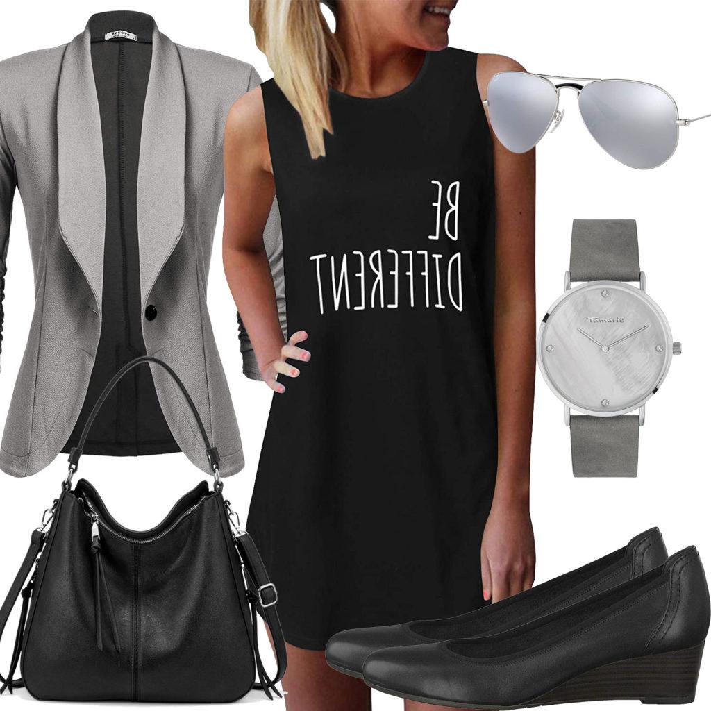 Schwarzes Frauenoutfit mit Blazer, Brille und Uhr