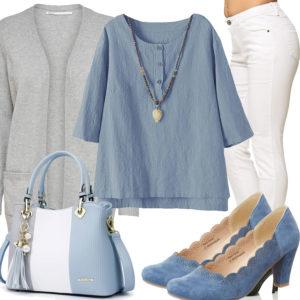 Sommer-Damenoutfit in Weiß, Hellblau und Grau