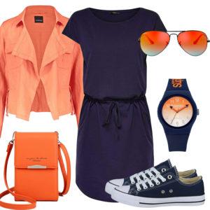 Blau-Oranges Frauenoutfit mit Kleid und Blazer