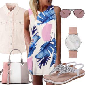 Rosa Frauenoutfit mit Sommerkleid, Brille und Uhr