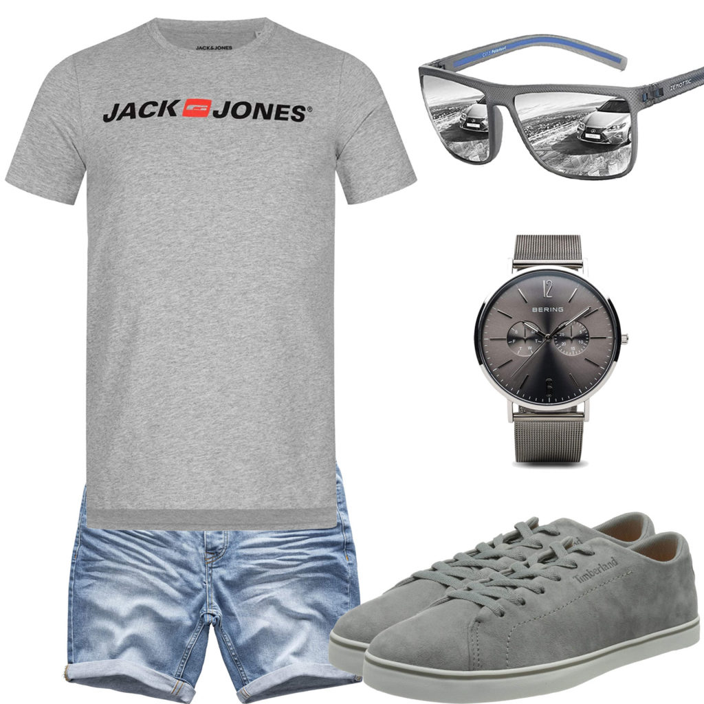 Sommer-Herrenoutfit mit hellgrauem Jack&Jones T-Shirt, Bering Armbanduhr, Timberland Sneakern, Sonnenbrille und Jeans-Shorts.