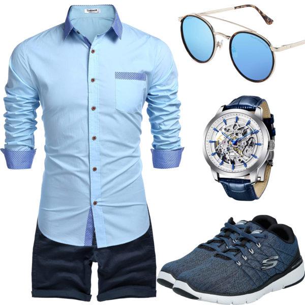 Blaues Sommer-Männeroutfit mit Hemd und Shorts