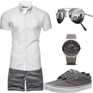Graues Herrenoutfit mit Hemd, Shorts und Brille
