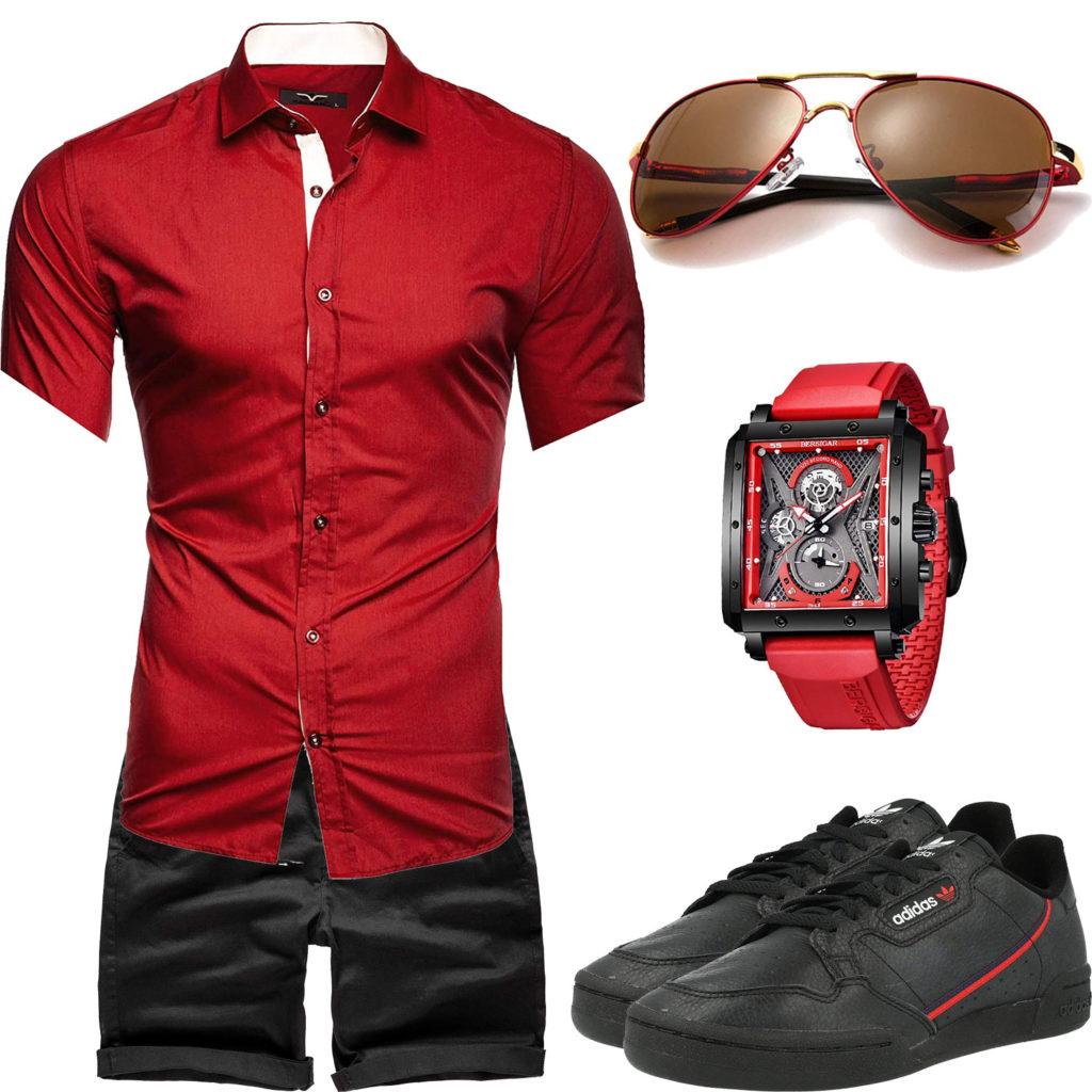 Schwarz-Rotes Herrenoutfit mit Hemd, Shorts und Uhr
