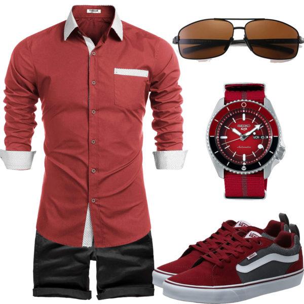 Rotes Herrenoutfit mit Hemd, Sneakern und Uhr