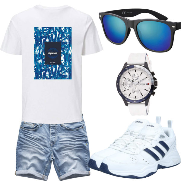 Sommer-Herrenoutfit in Weiß und Blau