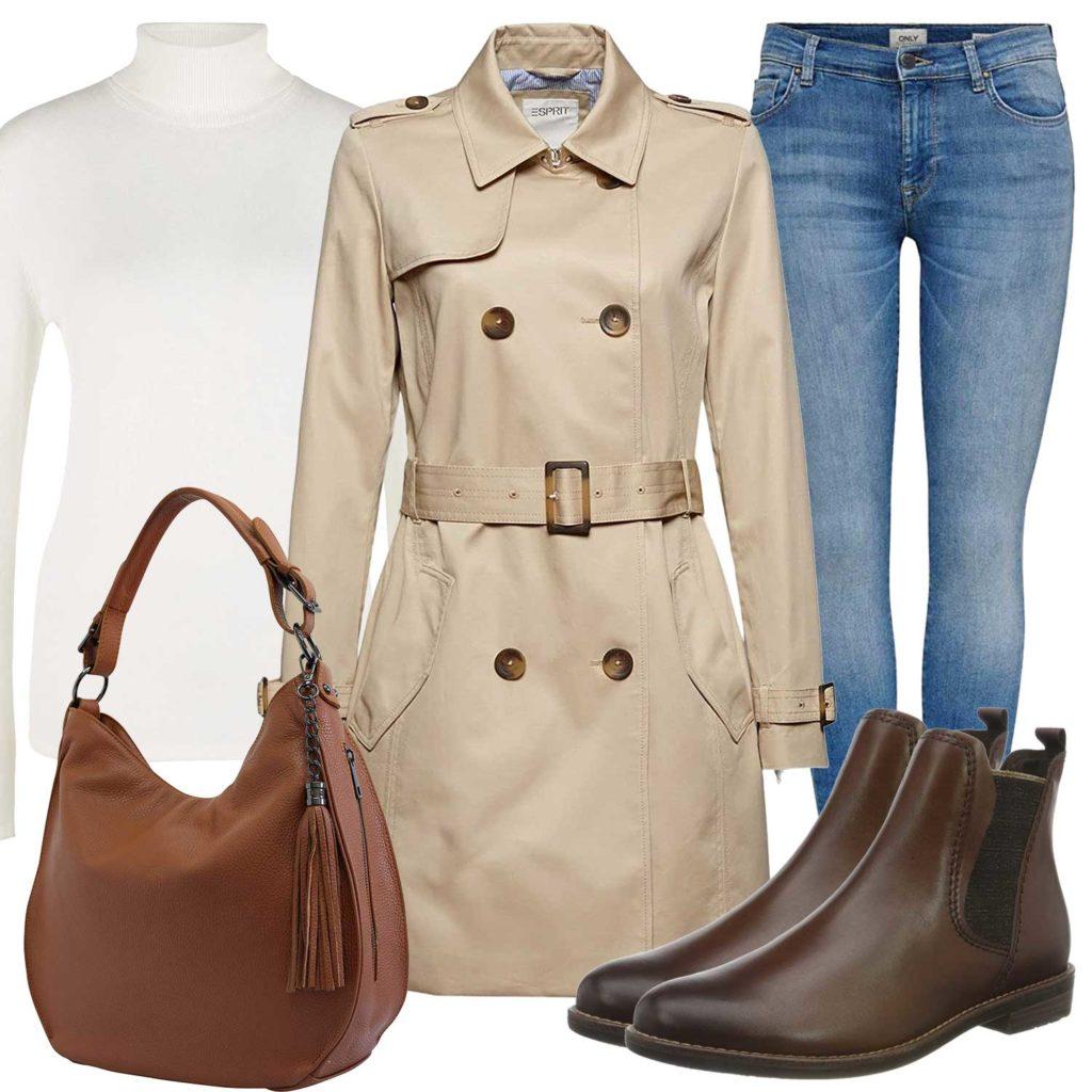 Herbst-Frauenoutfit mit Trenchcoat und Tasche