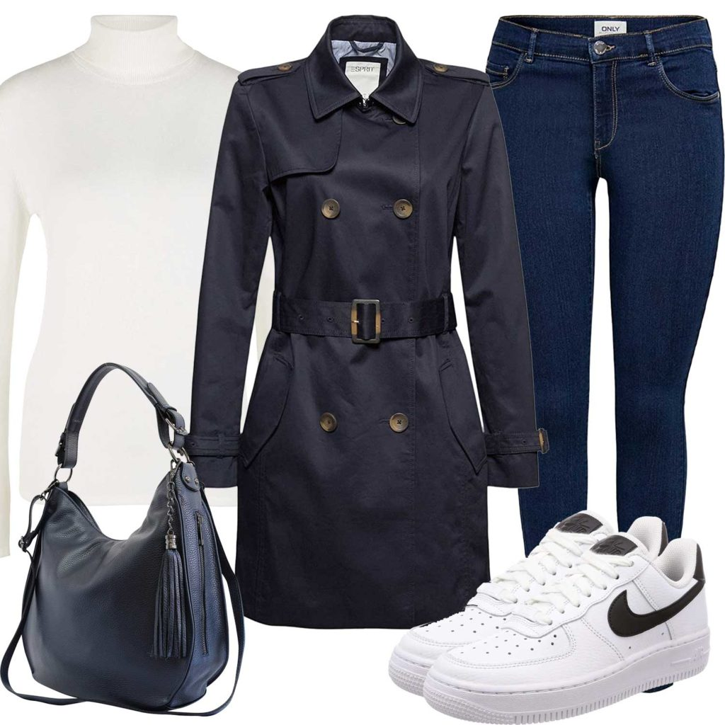 Blau-Weißes Frauenoutfit mit Trenchcoat